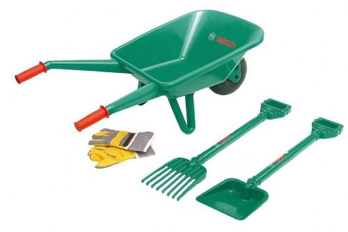 Kleins Bosch Childrens Garden Set Wheelbarrow, Rake, Spade
